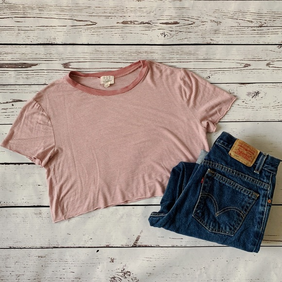 Project Social T Tops - PST Los Angeles Pink Striped Crop Top